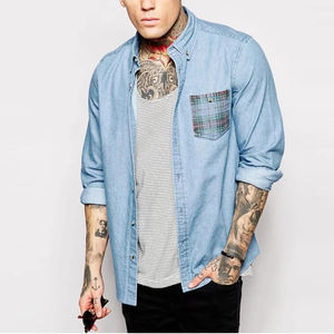 OEM manufacturer high quality long sleeve Check print pocket mens cotton denim shirts