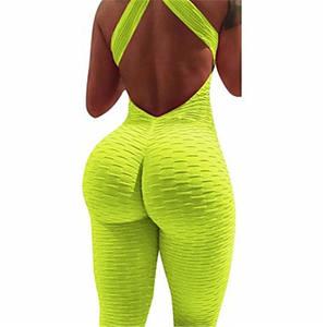 Latest design Custom logo 2021 Hot selling OEM seamless leggings suspender sport women backless jumpsuit
