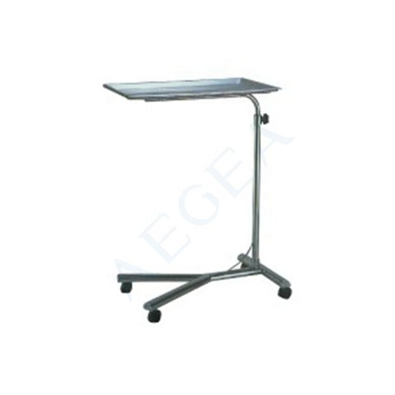 AG-SS008 Stainless steel surgical operating room instrument mayo table with four wheels