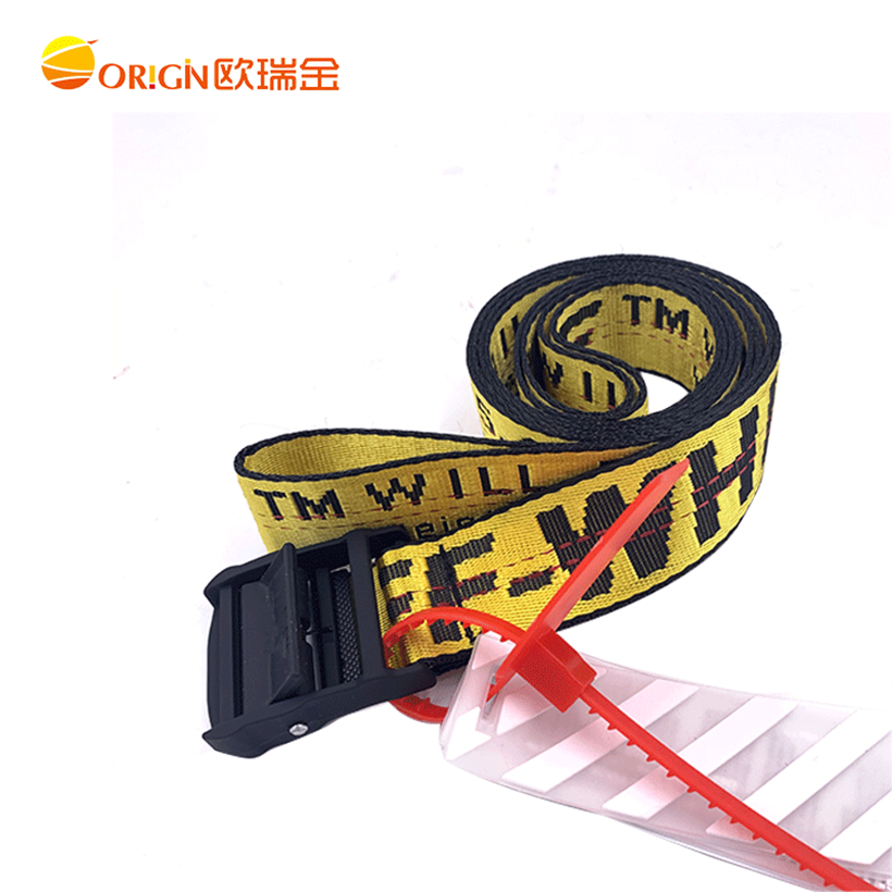 30% off Custom Logo Polyester Nylon Fashion Fabric Canvas white belt Jacquard Weave Waist jeans belt white yellow