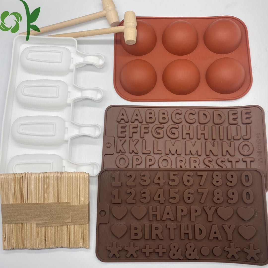 OKSILICONE Popular Semi Sphere Silicone Cake Mold With Wooden Hammer Ice Cream Mold Silicone Baking Mold For Chocolate