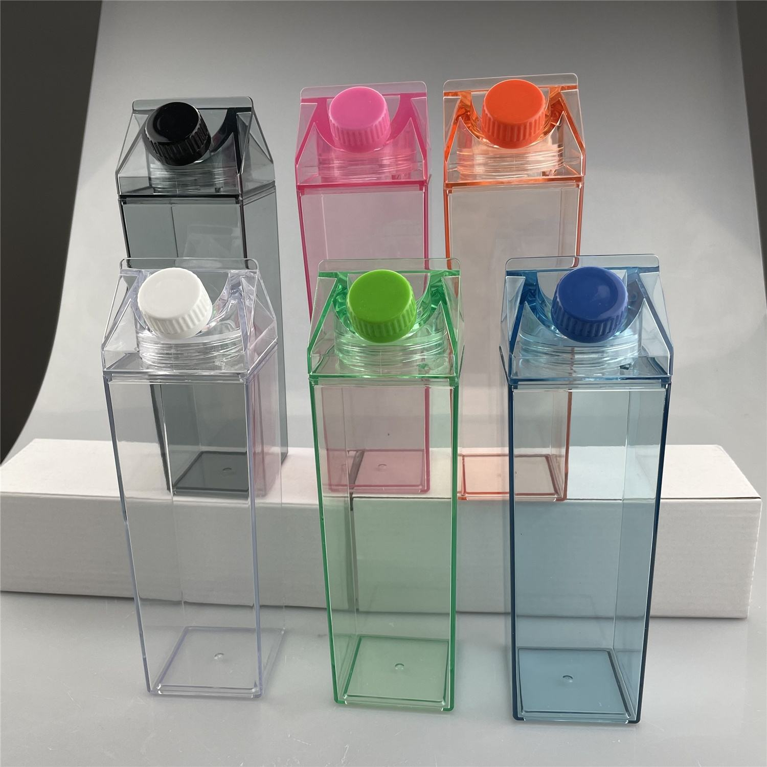 BPA Free 500ml 1000ml Cute Plastic Transparent Clear Milk Carton Water Bottles Reusable Square Shape Plastic Water Bottles