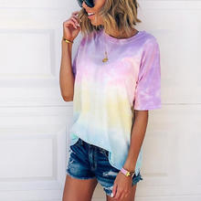 Tie-Dye Gradient Rainbow Shirts for Women Casual Short-Sleeved Tunic Tops Colorful T Shirt Multicolor Top