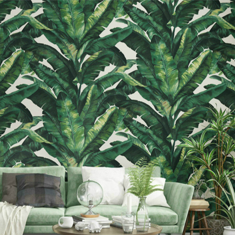 Southeast Asian Rainforest Wallpaper 3d Green And Gold Living Room Background Leaf Pattern Wallpaper