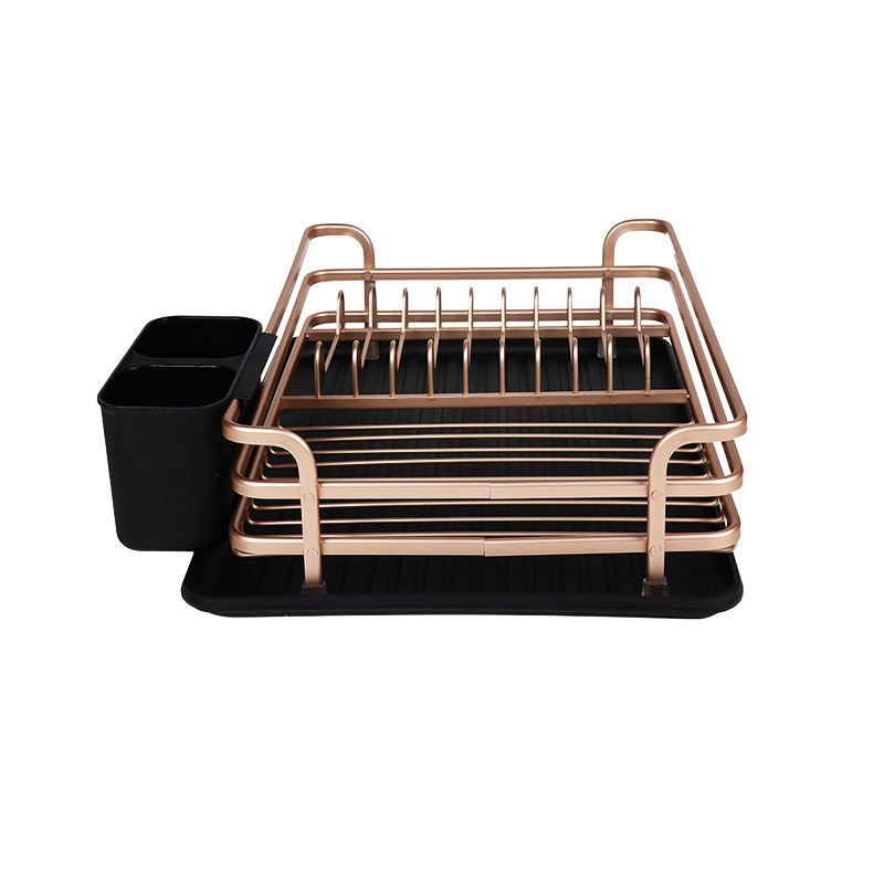 Factory Direct Supply Modern decorative dinnerware aluminum kitchen dish drying rack with Utensil Holder,drainer tray cover