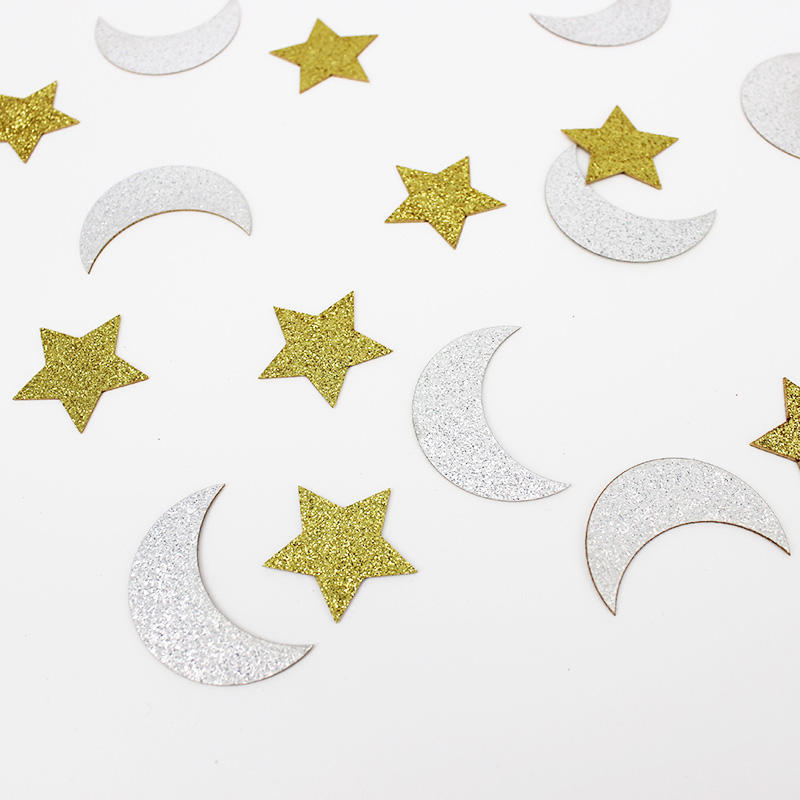 Double-Side Gold Glitter Star and Glitter Silver Moon Confetti Wedding Birthday Party Bridal Shower Confetti Baby Shower Decor