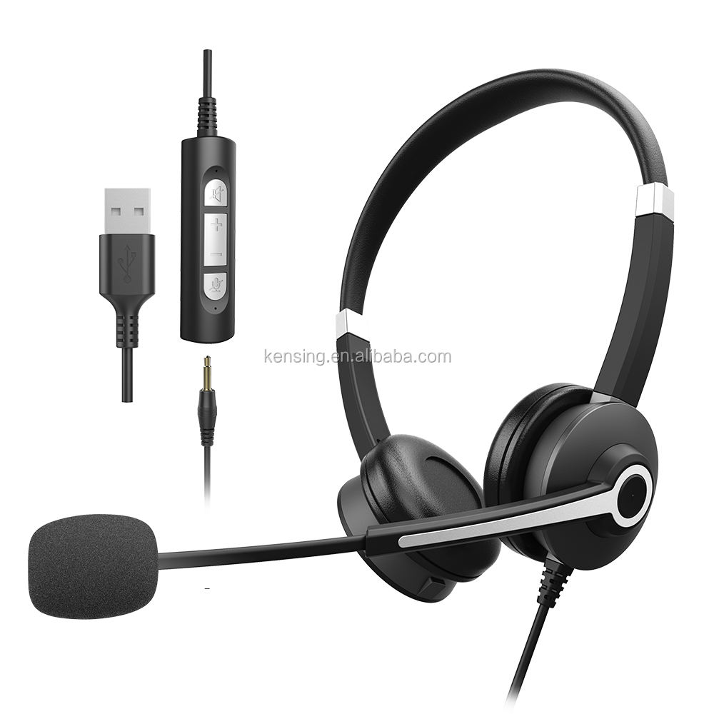 High quality 3.5mm and USB headphone for student and people work at home