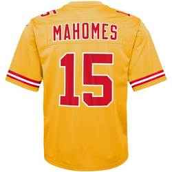 Kansas City P Mahomes Yellow Inverted American Football Jers