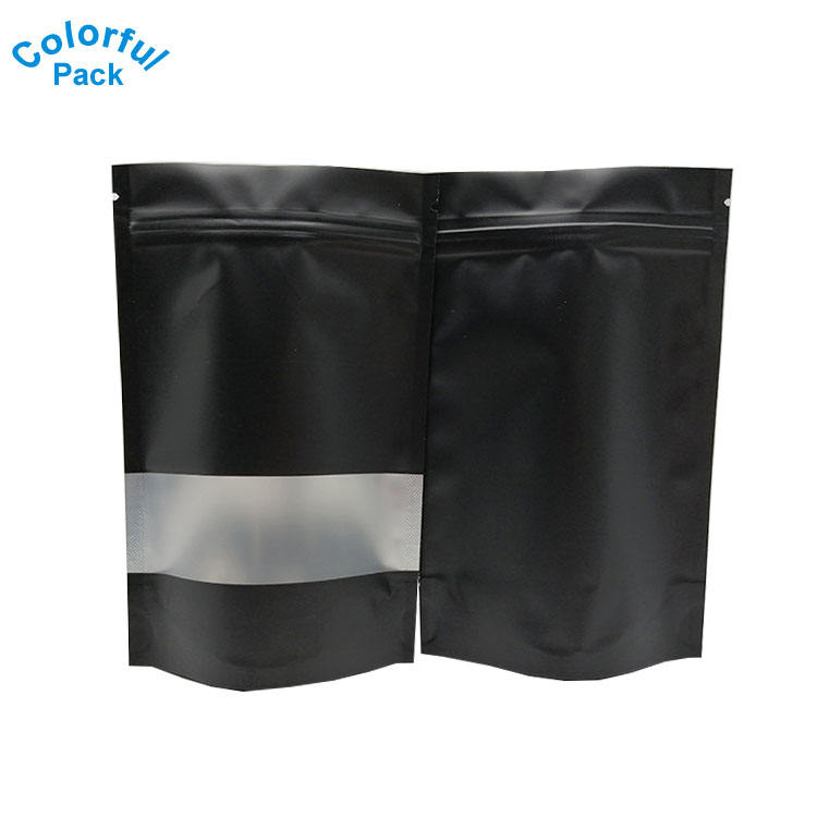 100 PCS /unit Smell Proof Bags with Window 4x6 Inches Matte Black Resealable Zip Lock Metallic Foil Mylar Bags