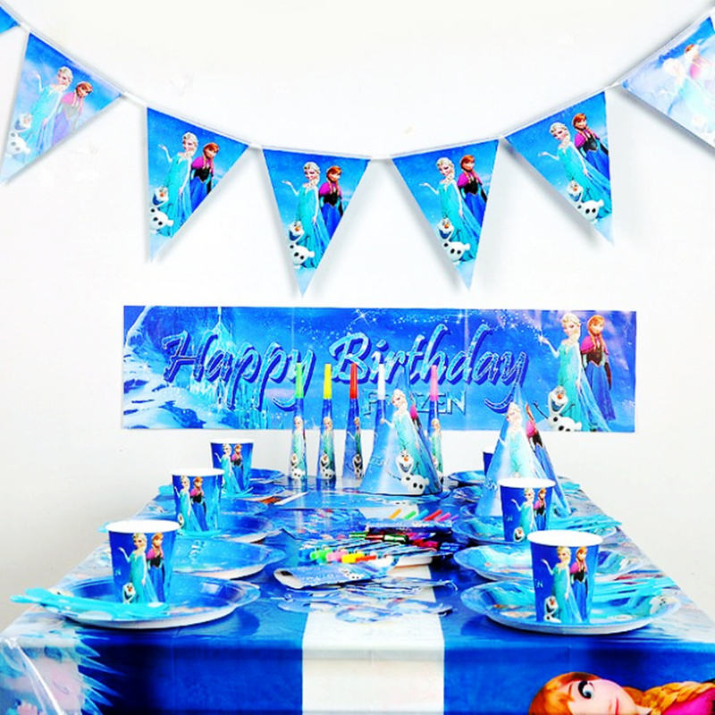 Cartoon Frozen Kinder Geburtstag <span class=keywords><strong>Thema</strong></span> Party Set Factory Outlet Party Dekoration Szene Layout Requisiten
