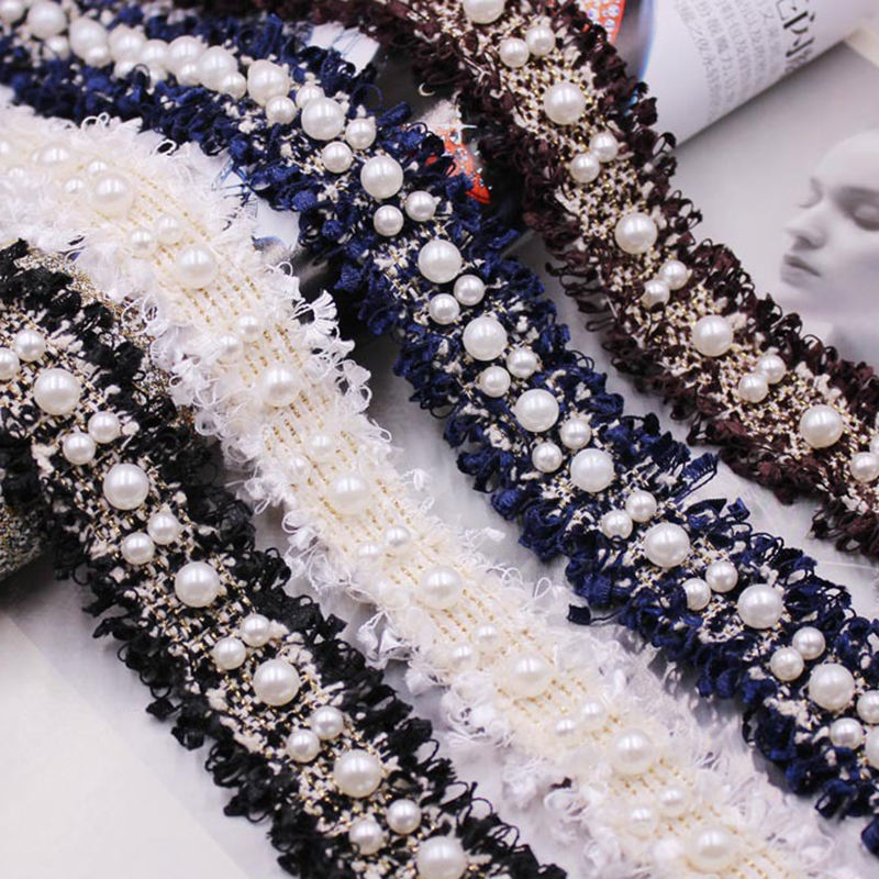 DIY handmade pearl lace trim clothing headwear accessories