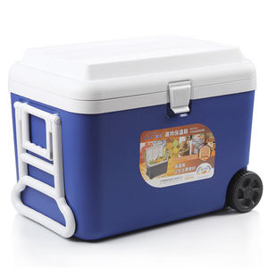 OEM Insulated 60L Besar Eps Busa Ice Cooler Box Food Grade Luar Ruangan Berkualitas Tinggi Cooler Box Wholesale Es trolley