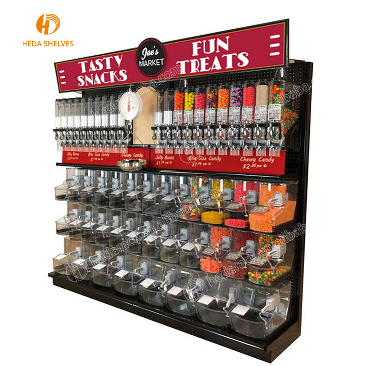 Grote 4-Tier Metalen Snoep Noten Voedsel Display Rack Met Bins Candy Rack