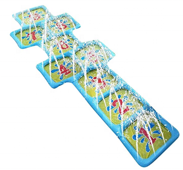 Kids Inflatable Water Sprinkler Toy Splash and Spray Hopscotch Game Mat Spouts Garden Toy Inflatable Play Mat with Water Outside