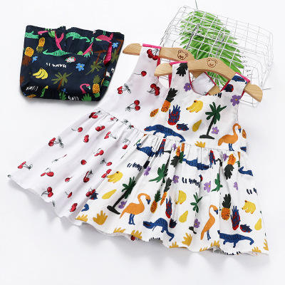 infant frock design for baby Summer flower new baby dress printing back sling Korean children clothes clothing girls dresses