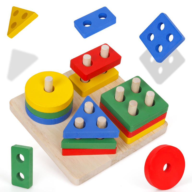 Amazon Best Selling Colorful Montessori Wooden Geometric Blocks Stacking Game Toys New Released Kids Early Shape Cognitive Toys