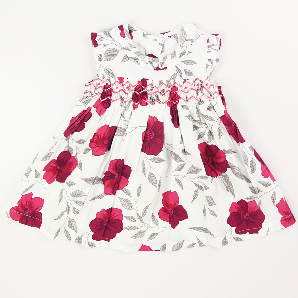 Summer girls smocked dress floral cotton ruffles baby flower dresses kids clothing boutique party holiday beautiful