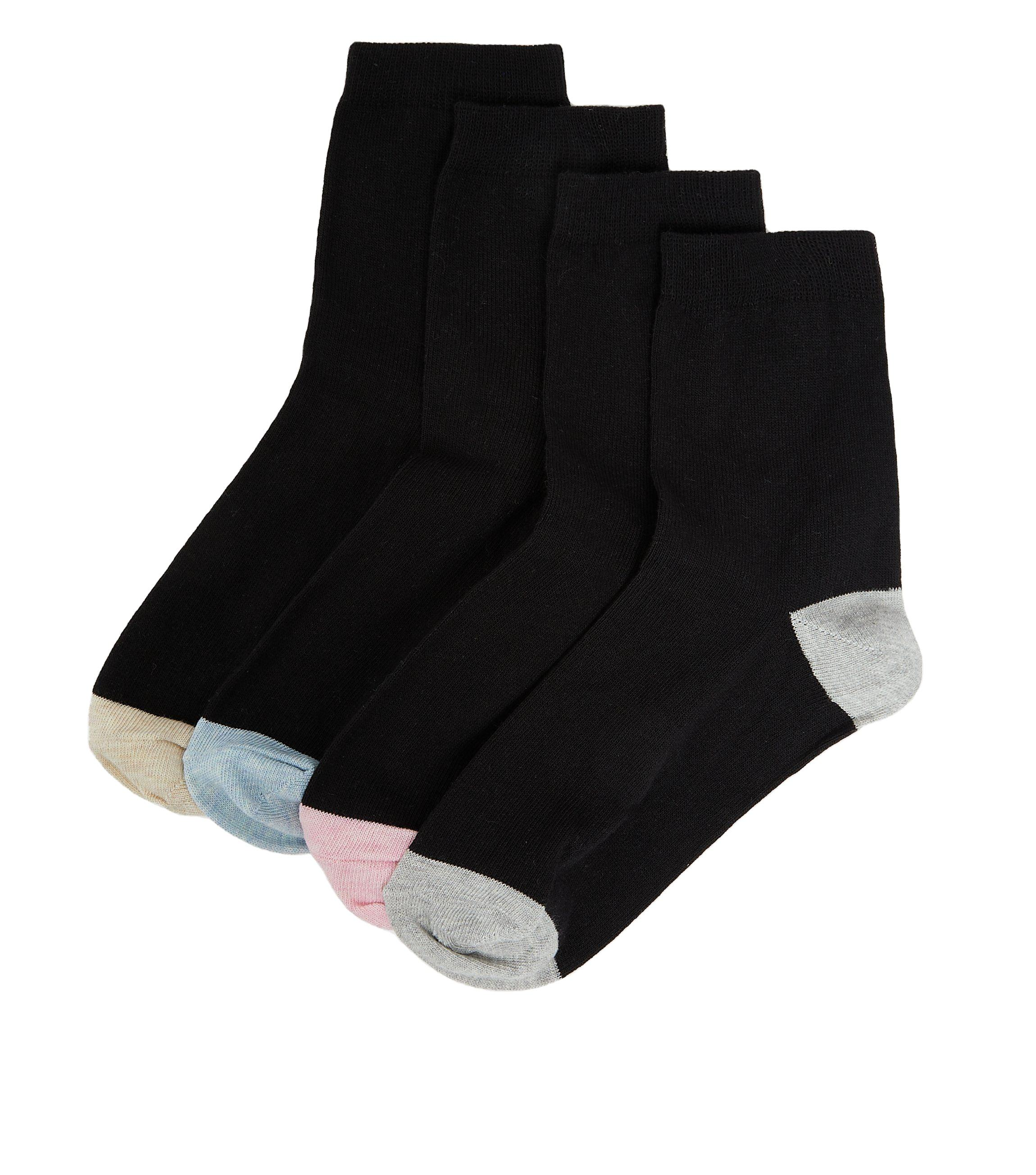 Black Color Block Ankle Socks High Quality Soft Socks