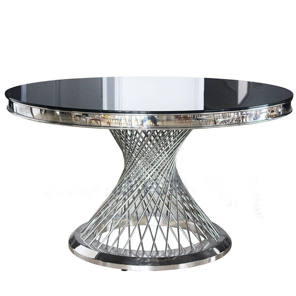 High grade stainless steel circular table with black glass for hotel