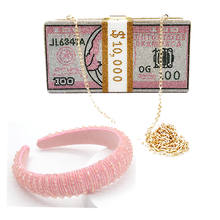 Fashion rhinestone money bags with headband women 2020 new bling blue money purse bag and headband