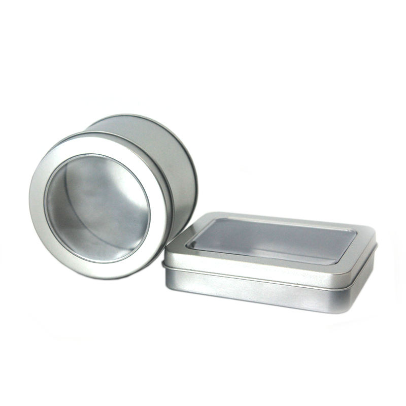 China Factory Plain Mint Metal Tin Gift Case Stock Tin Container Round Tin Box With Clear Window