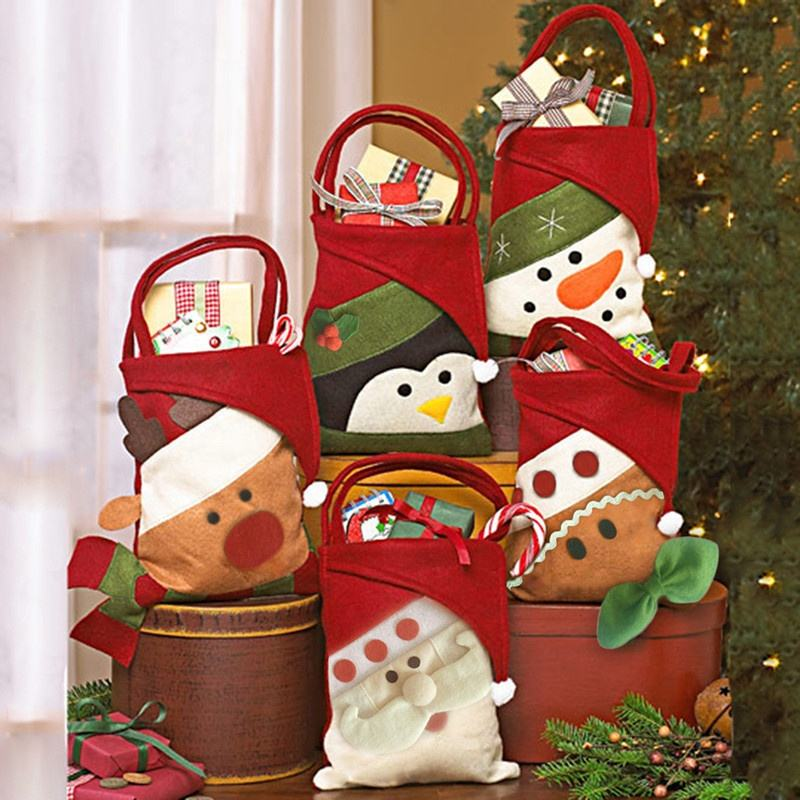 HB-4541 Christmas Decorations Felt gift bags reusable christmas candy bag