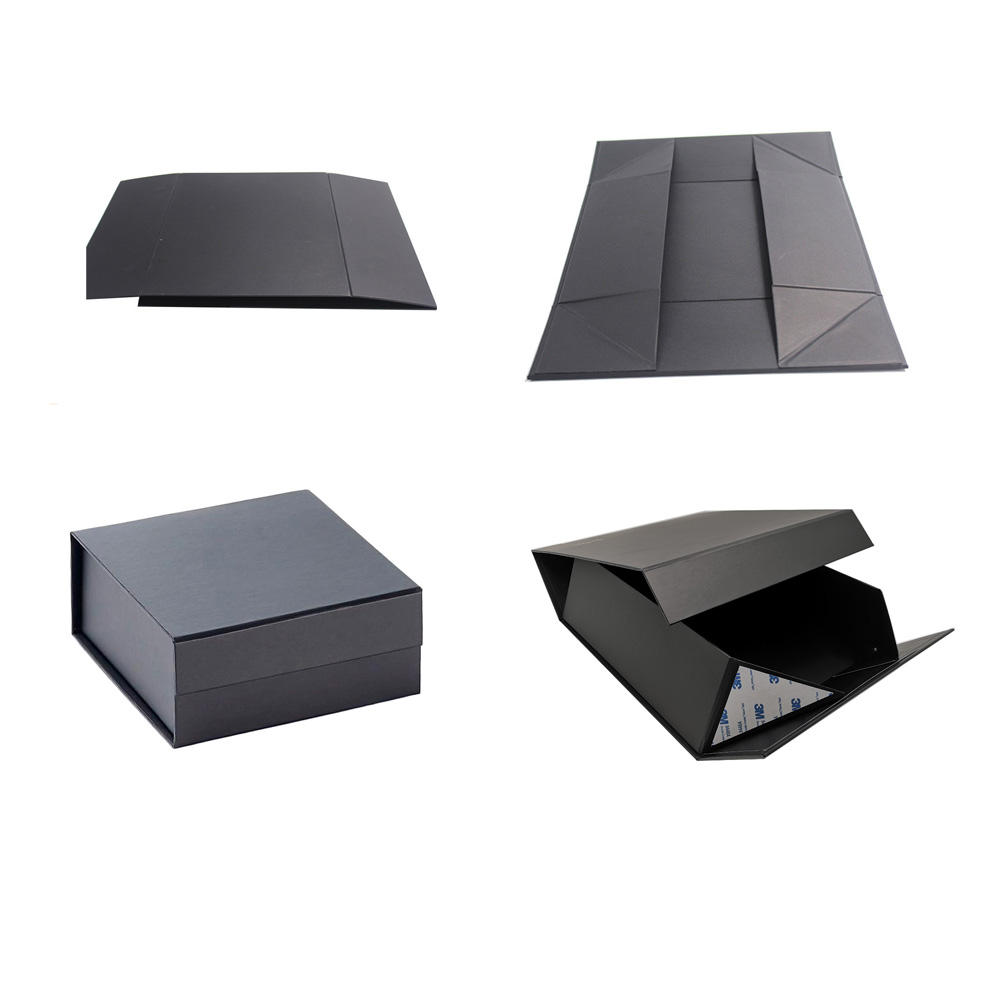 Black Matt Luxury Magnetic Paper Gift Box Book Shape Flat Packing Foldable Jewelry Gift Box Cardboard Box With Custom Logo