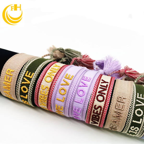 Handmade Friendship Woven bracelet with words & , Arabic words bracelet with embroidery texts Knitted bracelet with 3D texts