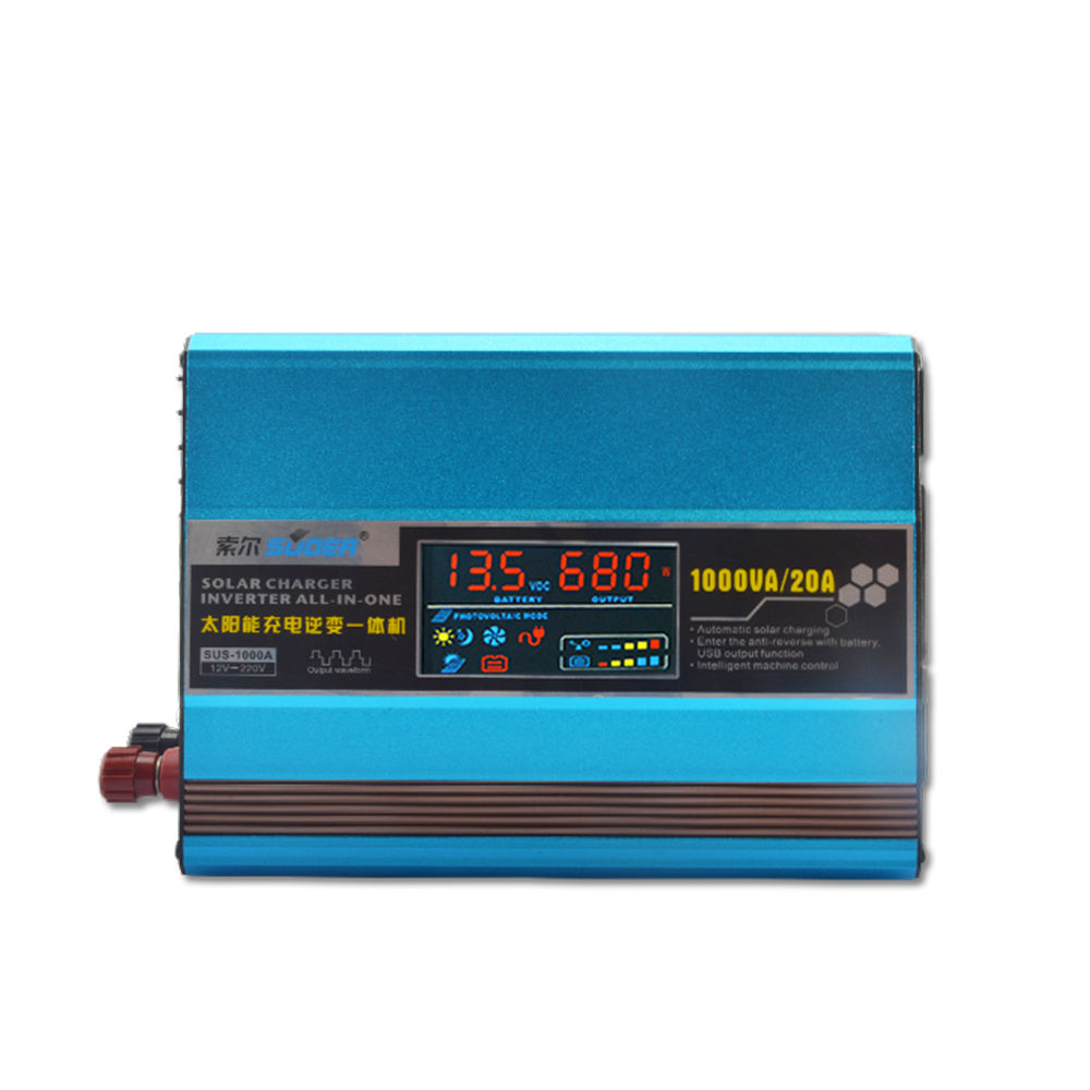 Suoer Solar Charge Inverter 1000w Built-in Solar Controller DC 12V to AC 220v Power Inverter