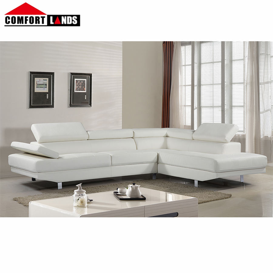 Wholesale luxury couch sectional , adjustable headrests white sectional couch