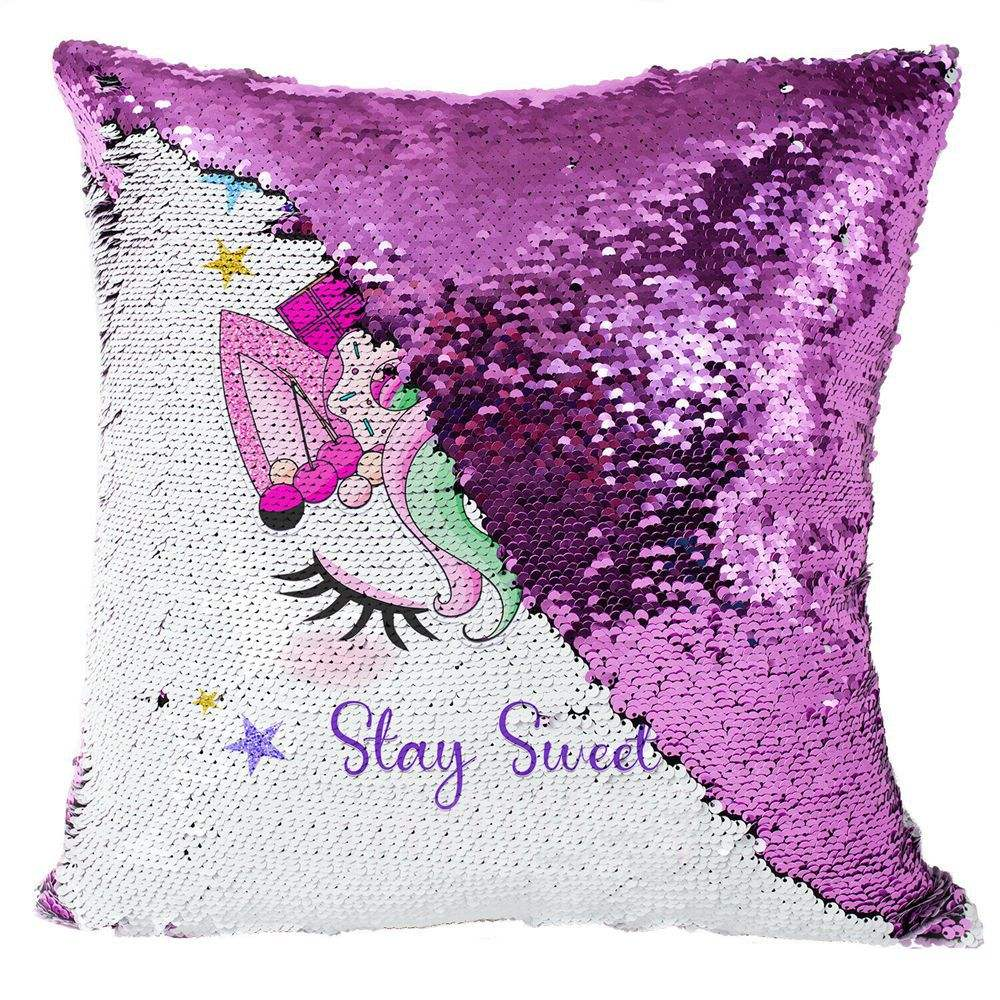 Unicorn Gifts Sequin Throw Pillow Covers Unicorn Room Decor for Girls Bedroom Birthday Decorations Pillow Cover
