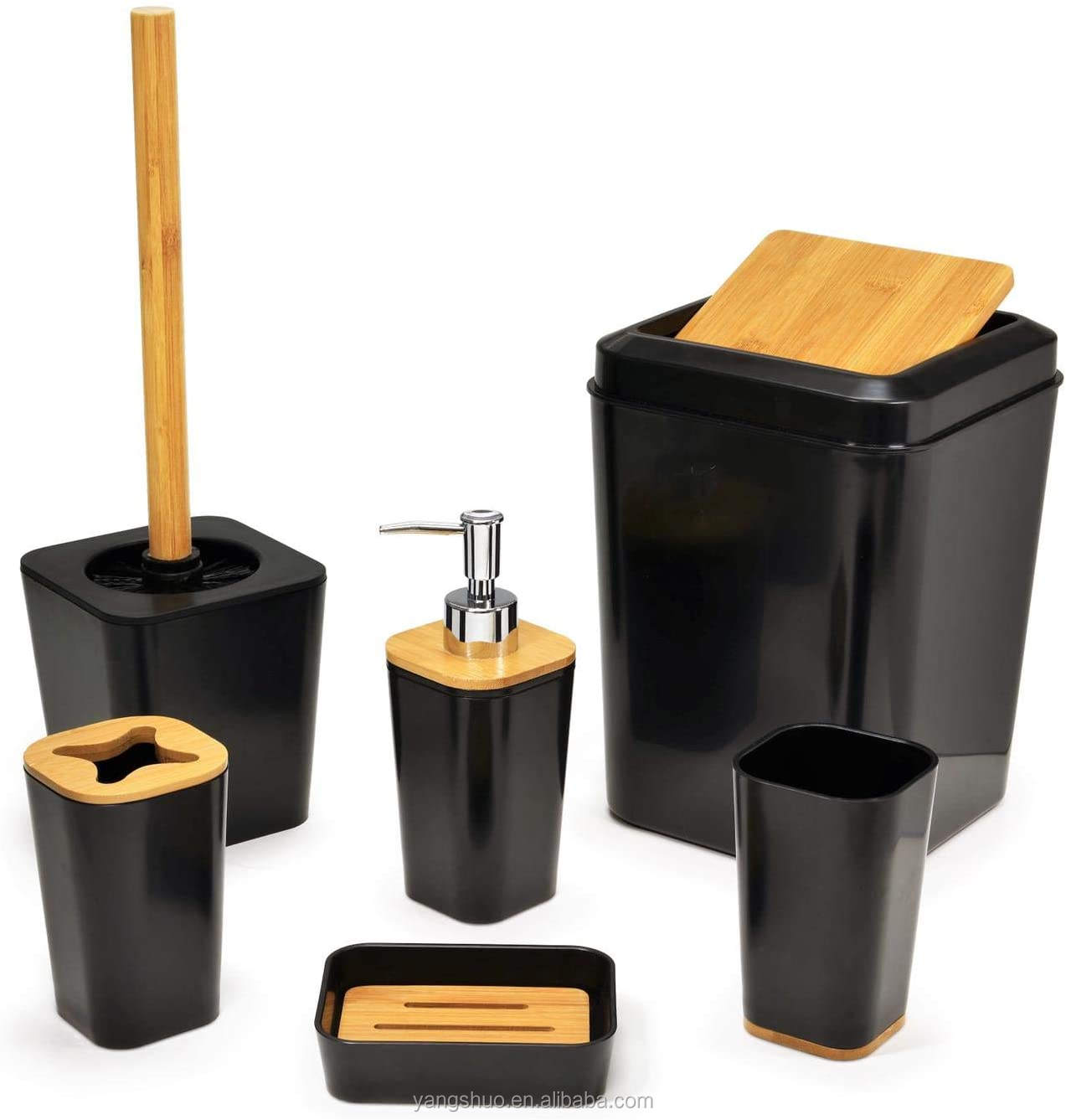 Hot Sell Bathroom Set 6 Pieces Plastic Wooden Hotel Bathroom Accessories