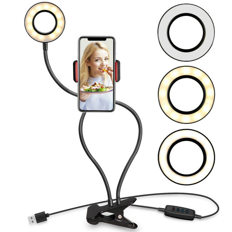 2 in 1 Cell Phone Holder with LED Selfie Ring Light for Live Stream Phone Clip Adjustable Desk Lamp Makeup Light