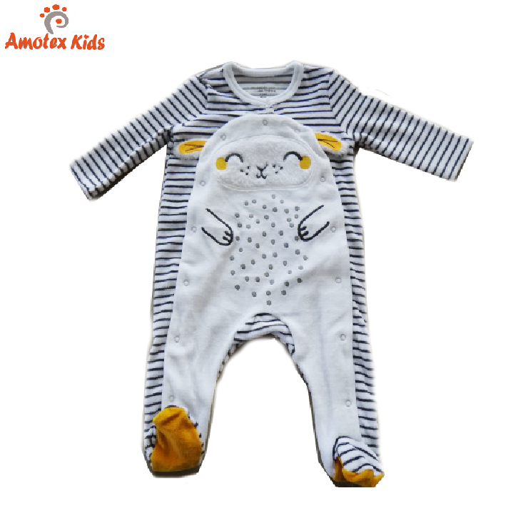 Hot sale velour long sleeve animal applique embroidery jumpsuit baby rompers for winter