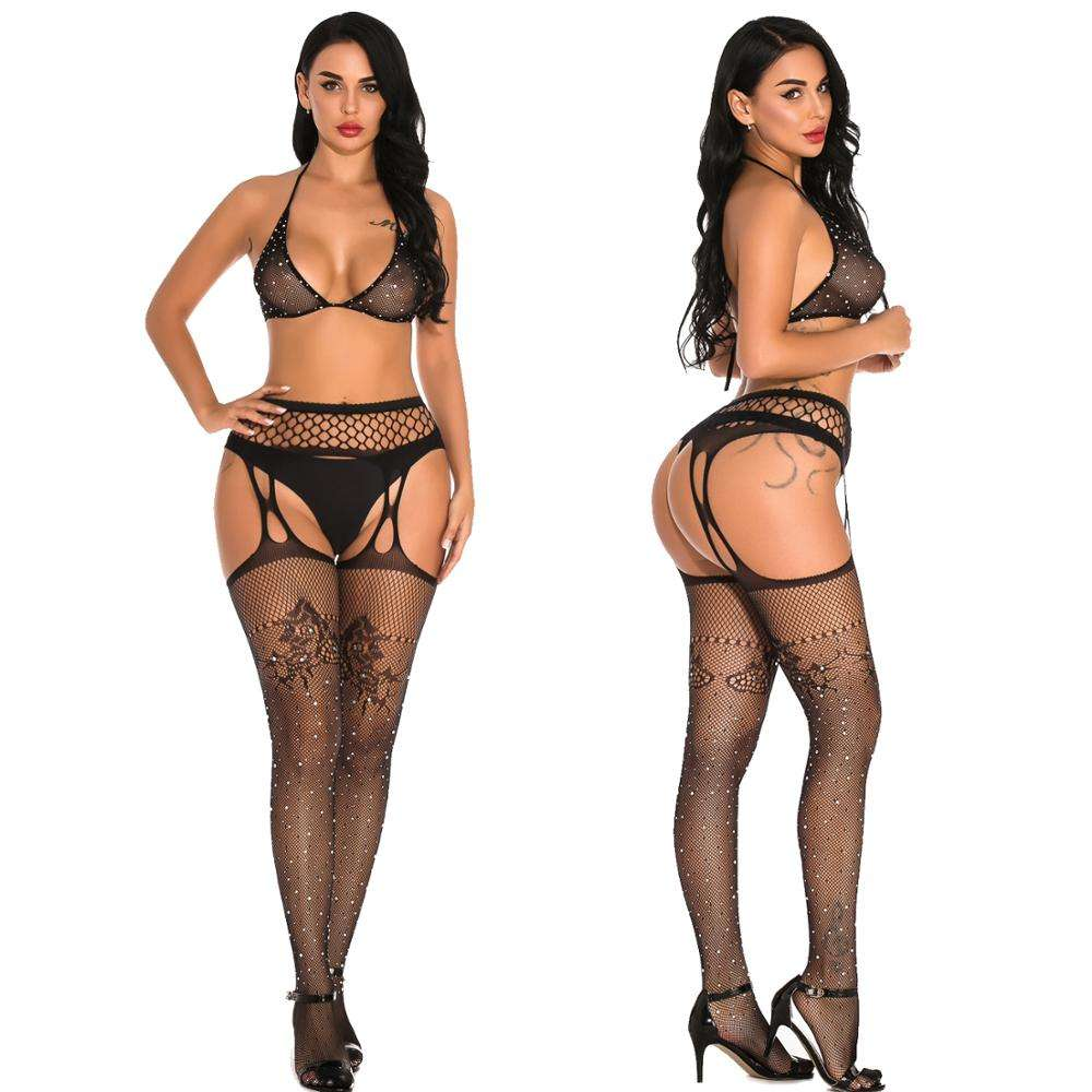 <span class=keywords><strong>Frauen</strong></span> Zwei Stück <span class=keywords><strong>Dessous</strong></span> Fishnet Bademode Strass Sehen Durch Clubwear <span class=keywords><strong>Bikini</strong></span> Top und Shorts Set