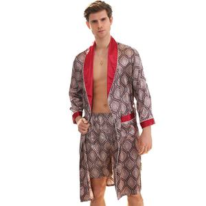Two piece silk robe set Luxurious satin bathrobe long sleeve pattern design pajamas for men