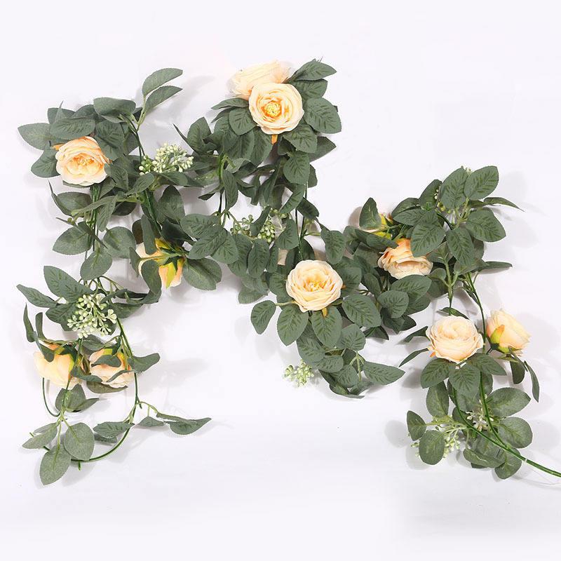 VKTY 22 Inch Rose Flower Wreath,Artificial Flowers Garland Front Door Wreath for Wedding Arch Front Door Wall Decor