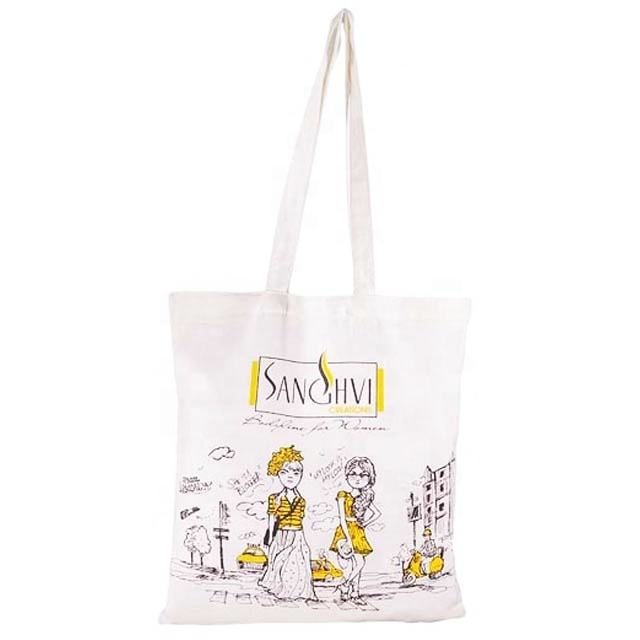 Promotional Bag/ Canvas Bag/ Super White Canvas Tote Bag with screen printing & self handle SA8000 Certified by SGS India made