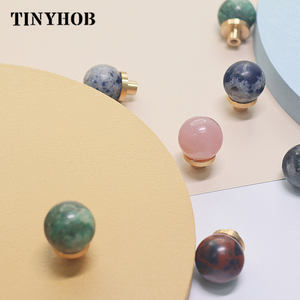 Wholesale Crystal knob/ Round Ball Shape Cupboard Door Pulls Furniture Natural Stone Dresser Handles for Furniture drawer C-3175