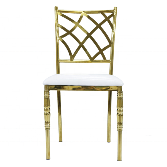 Stainless Steel Tiffany Chiavari Gold Wedding Chameleon Fanfare Stacking Chair LS0132