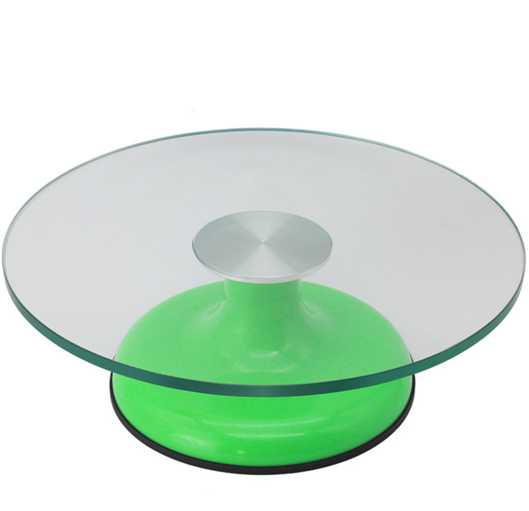 Rotating Glass Cake Decorating Stand Turntable Plate Pedestal for Serving Cakes, Cupcakes, and Desserts at Parties / Birthday