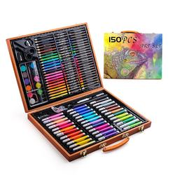 Hot sales 150 piece wooden box art drawing set with watercol