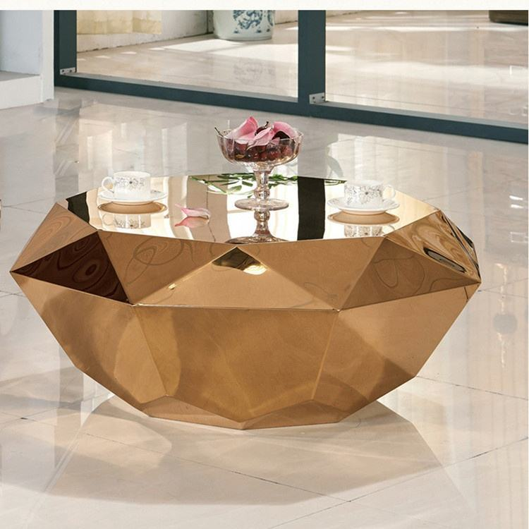 luxury polished Italy design electroplating gold crushed diamond coffee table