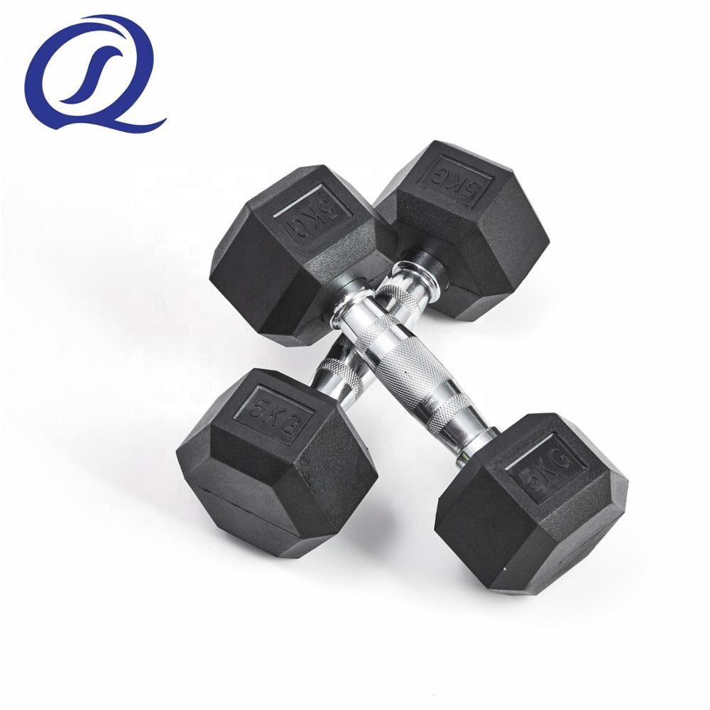Nantong Factory Black Eco-friendly Cast Iron Fixed Rubber Coated Hex Dumbbells