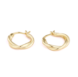 instagram jewelry 925 sterling silver hoop earrings clip on earrings Gold Plated Twist Metal Earrings