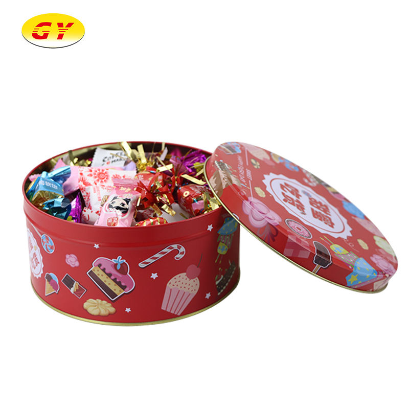Custom Pattern Wedding Party Acrylic Candy Chocolate Round Gift Box Eyelash Boxes In Tin
