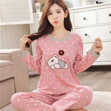 Sleepwear One set High quality New cute nighty Wholesale one set Chinese Long Sleeve Women Pajamas