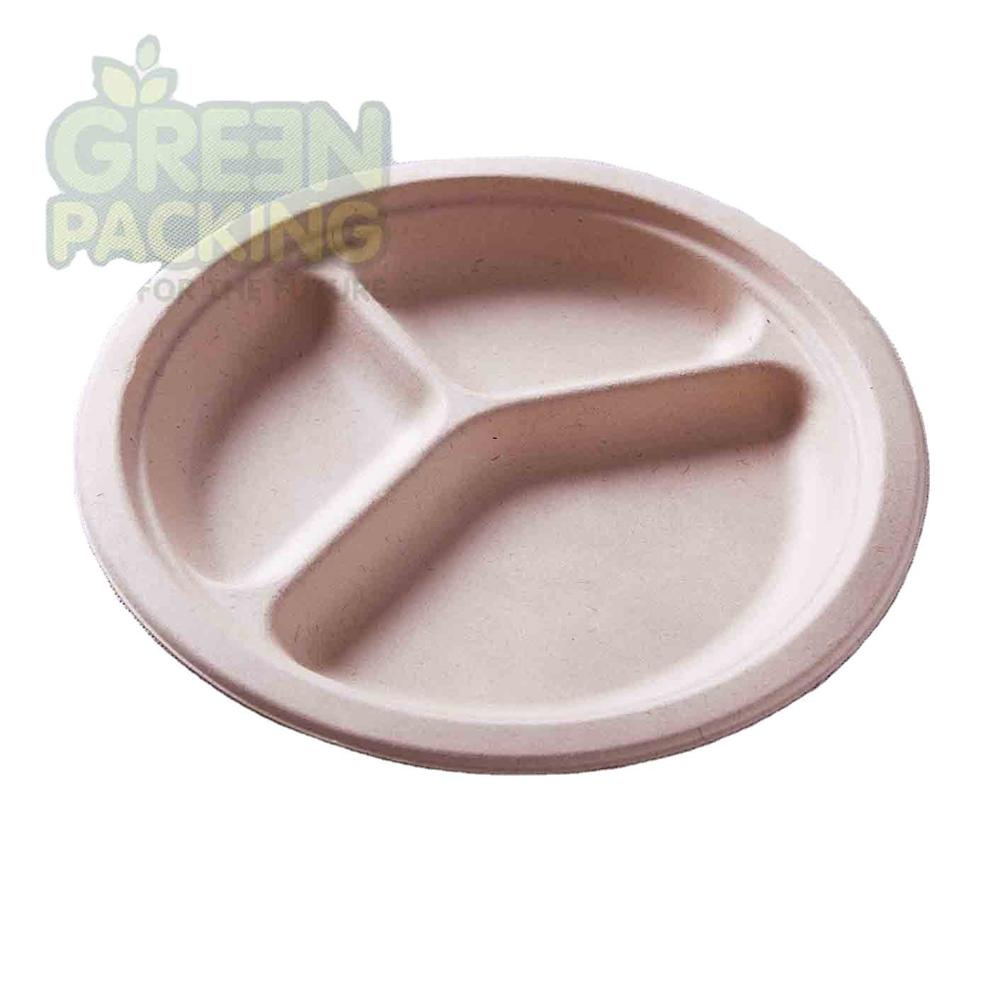 Eco friendly sugarcane bagasse products disposable to go plates compostable biodegradable tableware