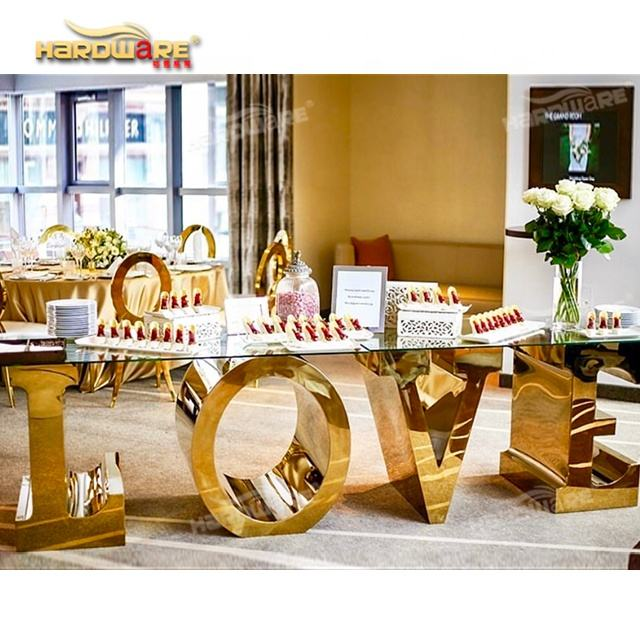Romantic hotel banquet stainless steel base glass love table for wedding