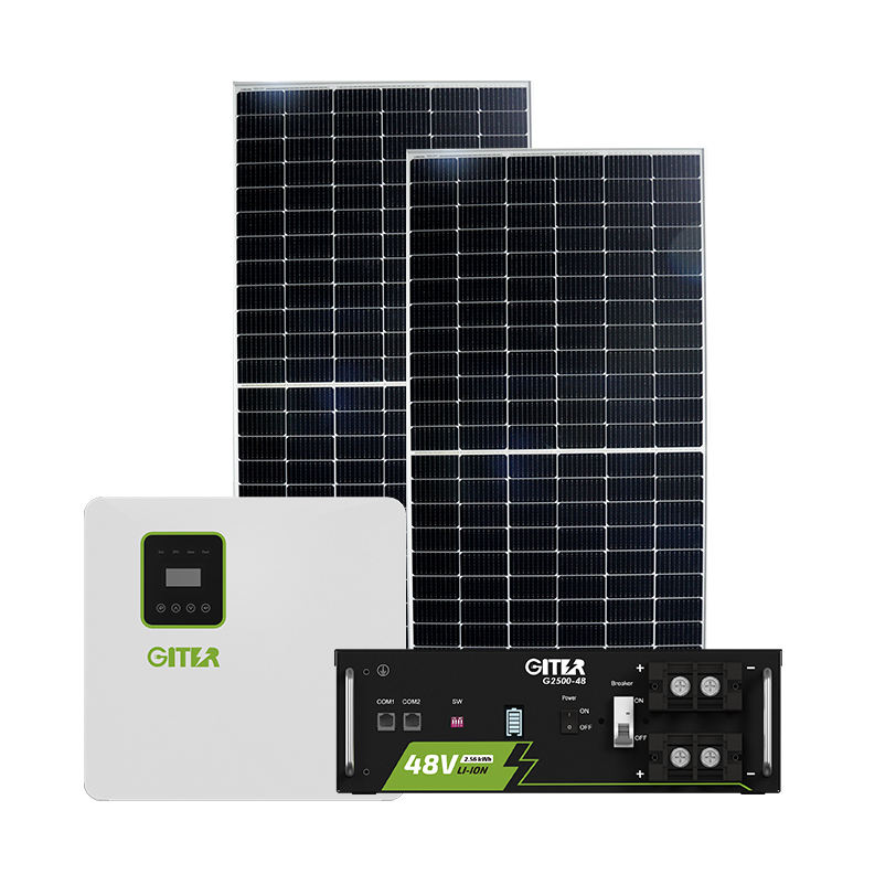 Hybrid panel solar power system home with lithium battery